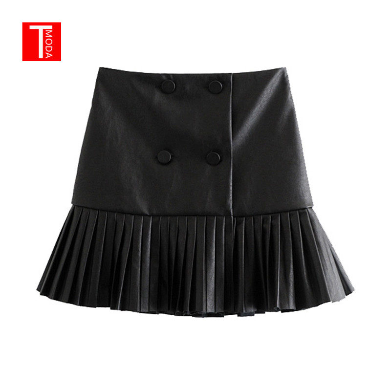 2018 Autumn Women Black PU Leather Pleated Skirts Buttons Decorat Chic Faldas Mujer Stylish Casual Solid Cute Mini Skirts