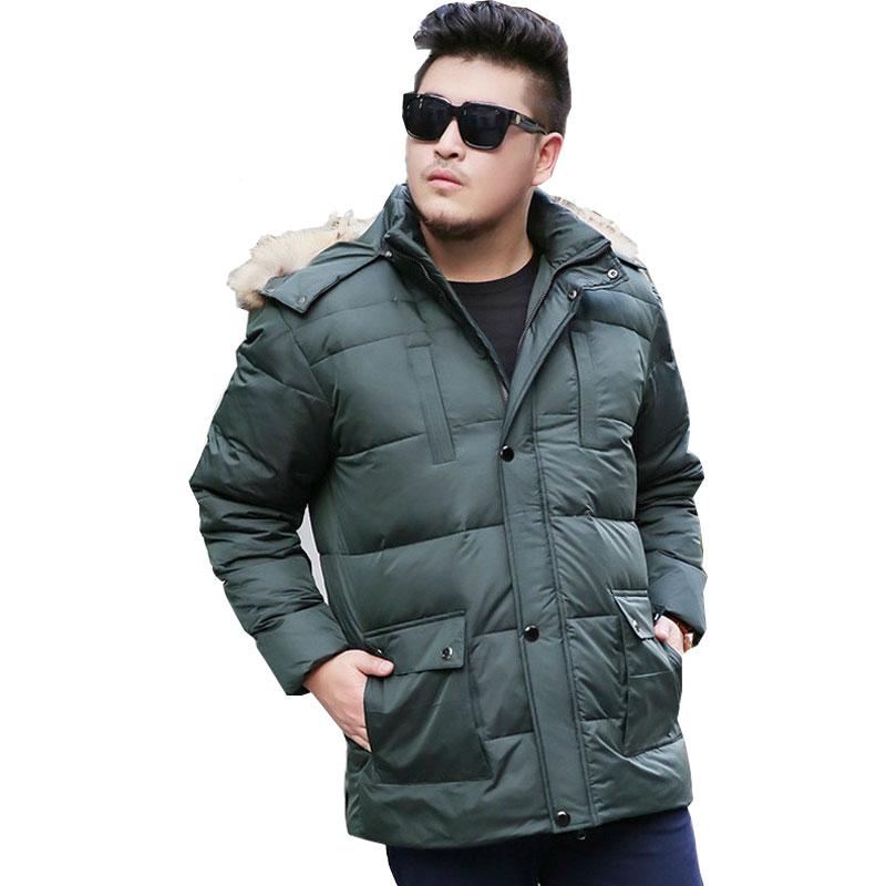 2017 Winter Mens Thickening Long hair Collar jacket Mens Park jacket Mens Large size XL-8XL 9XL 10XL Brand Coat Blue/Green