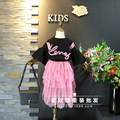 Корейский детская одежда 2017 весна новая девушка хит цвет твист поворот дизайн спикер рукава Футболка + нерегулярные юбка костюм