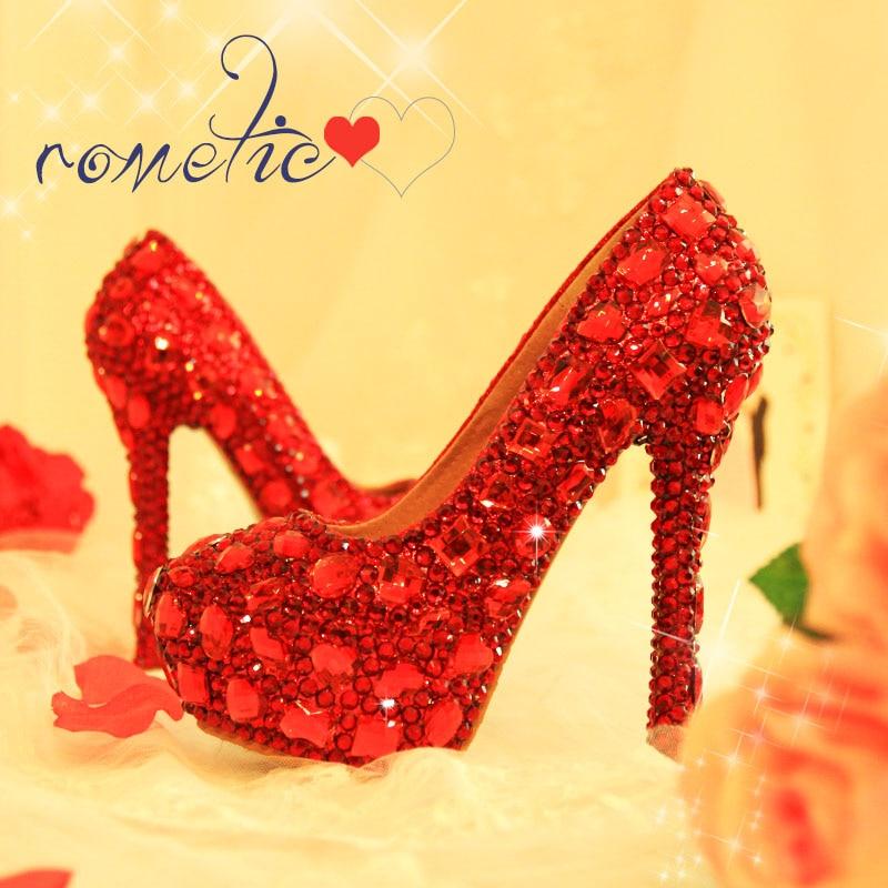 Luksusowe damskie buty ślubne damskie szpilki pompy prawdziwa skóra wkładka buty na koturnie srebrny/czerwony kryształ sukienka na imprezę buty w Buty damskie na słupku od Buty na AliExpress - 11.11_Double 11Singles' Day 1