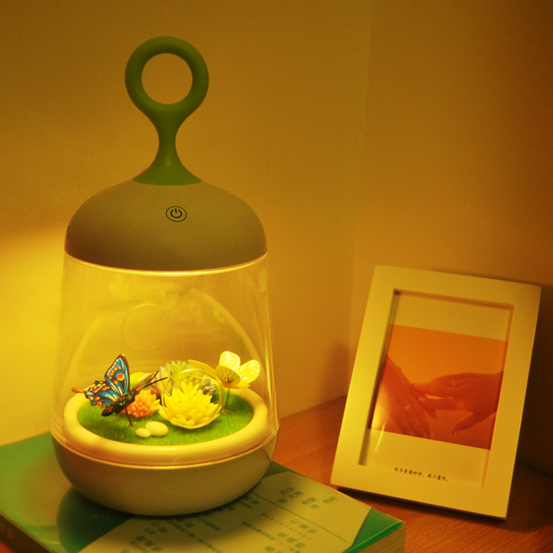 NEW Touch Sensor Plants Light Colorful 3D Rabbit Butterfly Nightlight USB Charging LED Baby Beside Lamp DIY Potted Night Light colorful waterdrop cartoon led charging night light