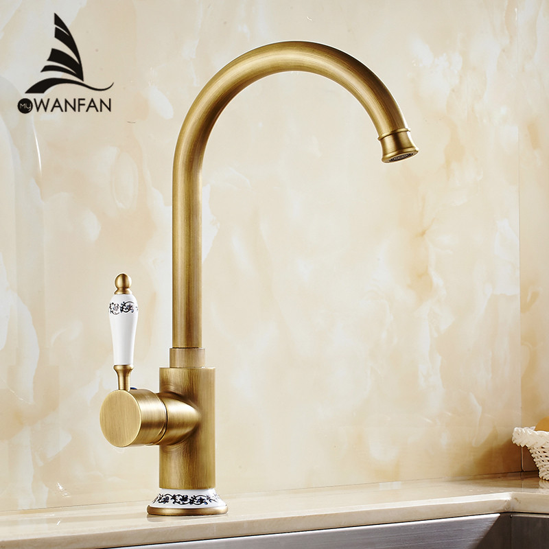 Kitchen Faucets Cold Water And Hot Water Antique Brass