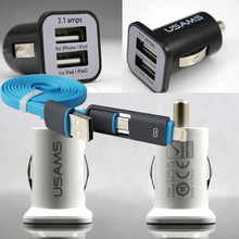 2-1 Data Cable+Micro Auto 3.1A Car-Charger For Sony Xperia Z3 compact Z5 Z4 Z2 Z1 Compact M4 Qqua &Other Phones USB Car Charger