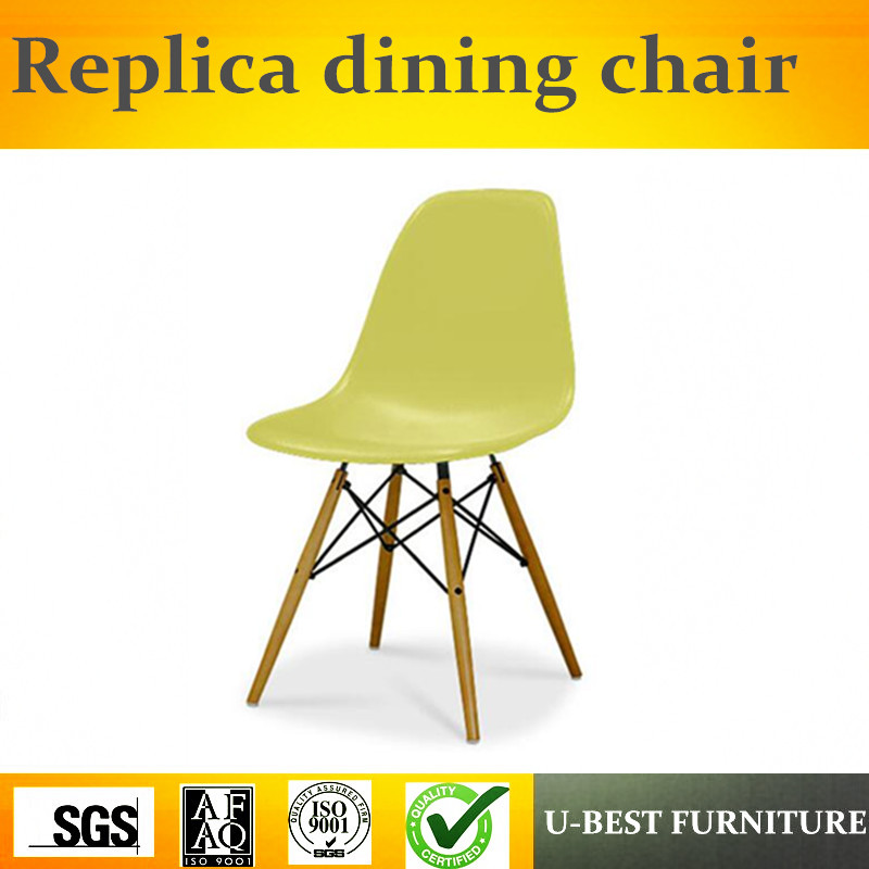 Free shipping U-best High quality side dining chair plastic dining chair, wood base side plastic chair free shipping blue vintage side chair