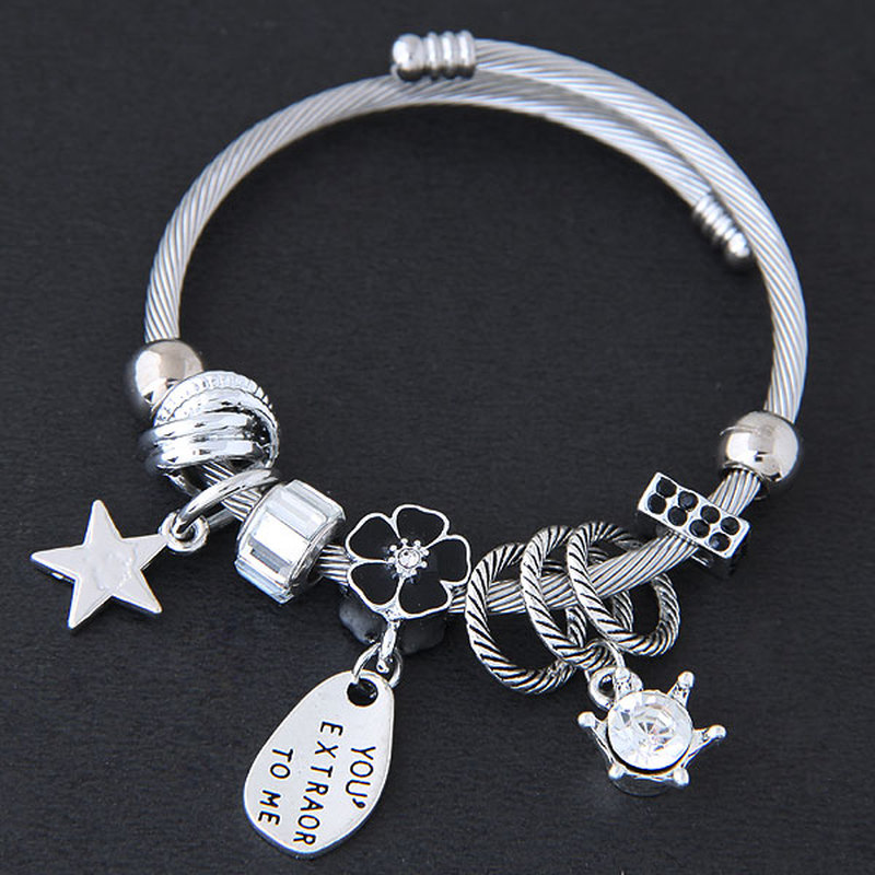 Ethnic Star Flower Crystal Crown Letters Charms Chain Bracelet for Wome Rhinestone Style Strand Bracelet Stainless Cuff Bracelet