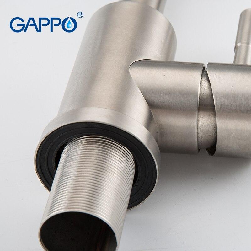 GAPPO nouveau 304 en acier inoxydable brossé bain bassin robinet évier mélangeur robinets vanité eau chaude et froide mélangeur salle de bain robinets - 4