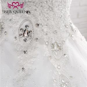Image 5 - Kapalı omuz nakış dantel düğün elbisesi es güzel kristal boncuk topu cüppe şeklinde gelinlik düğün elbisesi moda kat uzunluk WX0006