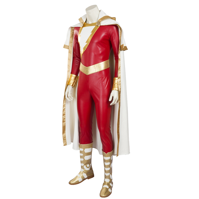MANLUYUNXIAO  New Men's Captain Marvel Shazam Cosplay Costume Deluxe Outfit Halloween Costumes For Men Men Full Set Custom Made 1