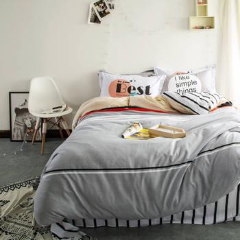 Современные черный, белый цвет полоса плоский лист Серый постельное бельё взрослых постельное белье queen/Полный размеры 4/5 комплектов, 3D пухо...