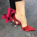 Real photo brand same design women super elegance back bow 9cm diamond thin heel wedding shoe lady cutout sandal black/red/rose