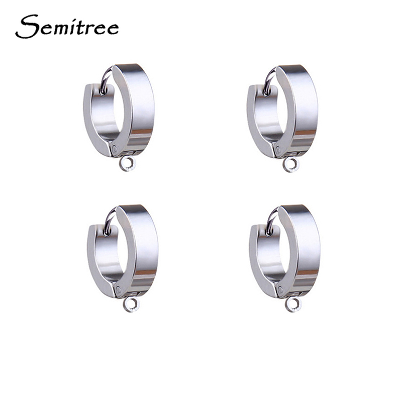 Semitree 10pcs Stainless Steel Ear Stud Hooks Earrings Clips Charms DIY Jewelry Punk Hiphop Earring Making Supplies Accessories