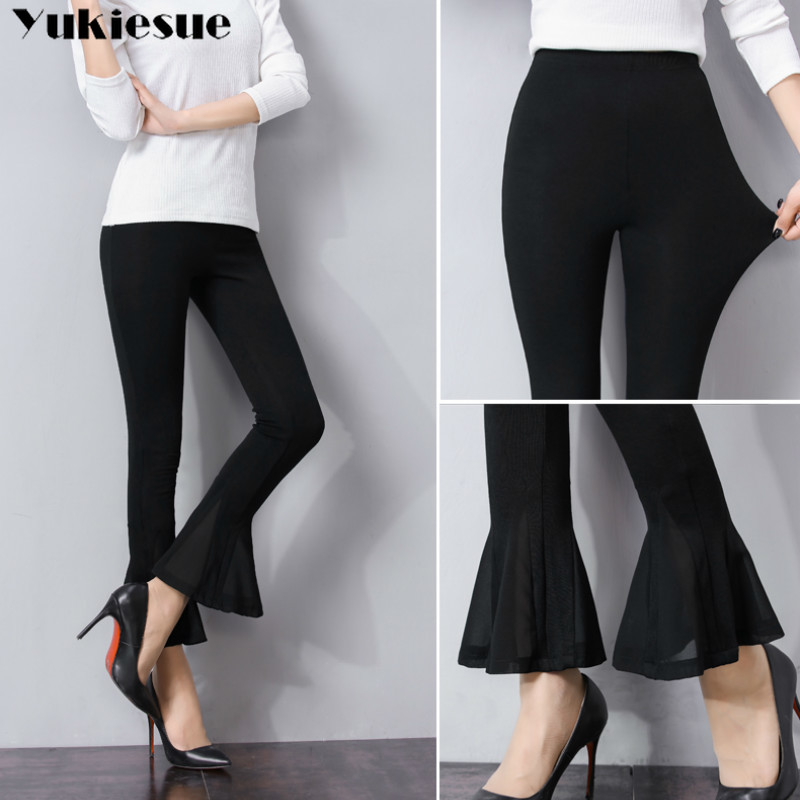 streetwear women's   pants     capris   with high waist Skinny flare   pants     capris   for women trousers woman   pants   female Plus size 5XL