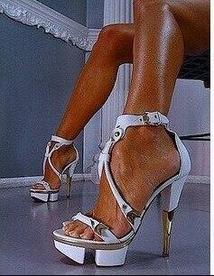 Newest   Name White Leather Ankle Strap High Heel Platform Sandals Designer Women Gold Metal Heel Formal Dress shoes wo уход за ногтями essence nail white pencil цвет white variant hex name edecf1