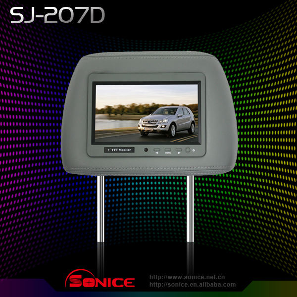 7 inch cheap  Universal Car TFT LCD Headrest Monitor  2 video input+3 colors optional  Wholesale/Retail    Guaranteed 100%