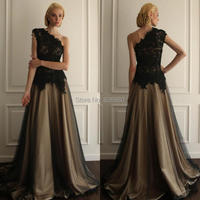One Shoulder Vintage Prom Dress Formal Event Long Gown Eveninig Sexy Sleeveless Custom Lace Applique Princess