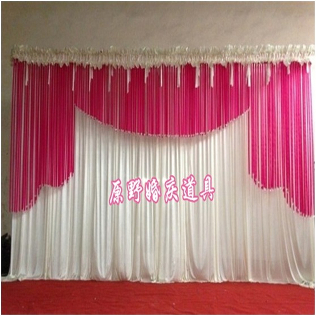 2017 Top Rated Crystal Ribbon Wedding Backdrop Curtain Stage Swags Decoration Party