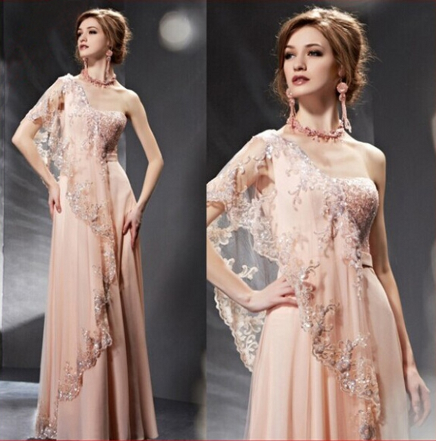 India Saree One Shoulder Lace Light Pink Long Evening Dress 2015 Gowns Vestido De Festa Longo robe de soiree abendkleider