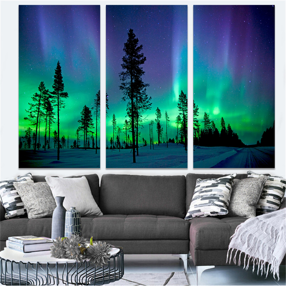 Tin Sign Poster Northern Mountains Sky Lights 20x30cm Nature Scene Painting