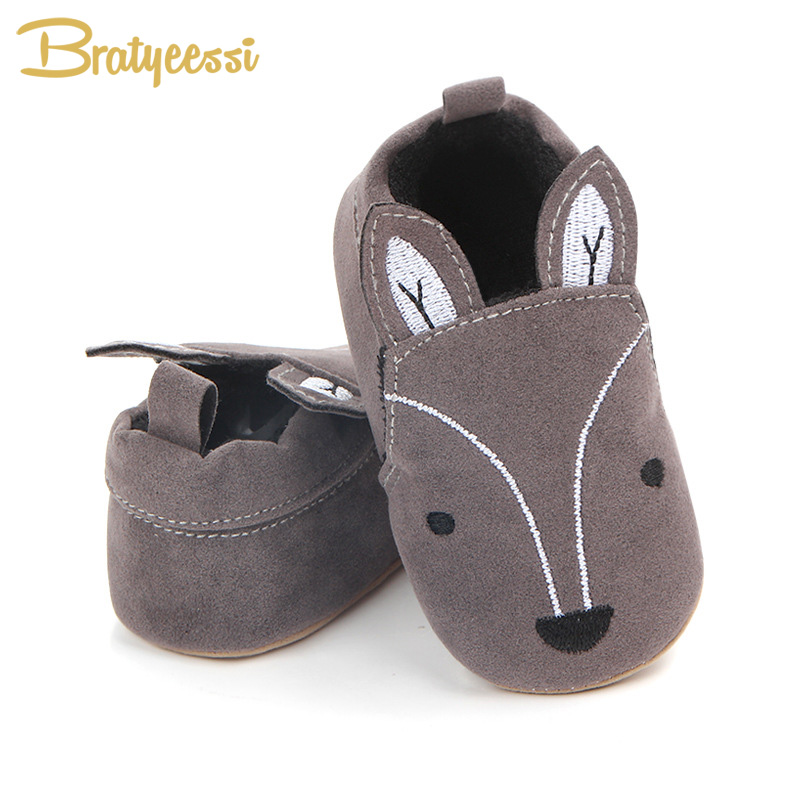 Cartoon Nubuck Leather Baby Moccasins Elephant Fox Baby Shoes First Walkers Toddler Shoes Solid Slip On Unisex Infant Shoes
