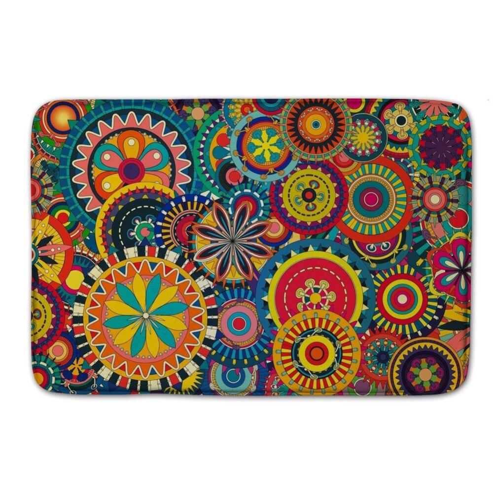 Kaleidoscope Pattern Wrinkle Resistant Floor Mat Rug