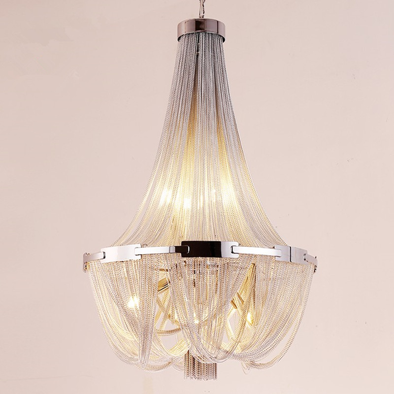 Led Gland Pendentif Lampe En Aluminium Argenté Chaîne Lustre Post Moderne De Luxe Luminaire