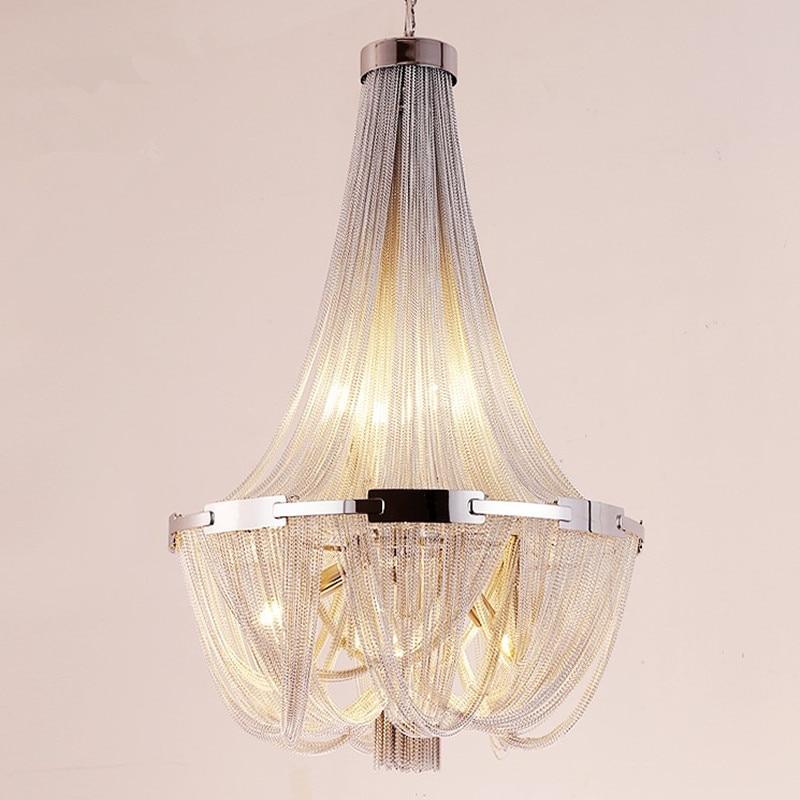 Led Nappa Lampada a Sospensione In Alluminio Argento Catena Lampadario Post Moderno di Lusso Apparecchio di Illuminazione