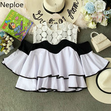 Neploe Sweet Lace Ruffles Women Tops New O-Neck Flare Sleeve Blusa 2019 Summer Korean Hollow Out Backless Ladies Blouse 44563(China)