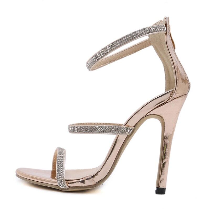 Femmes Mince Sangle De Chaussures Tinghon Haute Cristal Mode Gold Chaussure Talons Strass Sandales Femme D'été Boucle 4g1Hy7dq