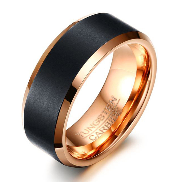 New Fashion Black And Rose Gold Color Tungsten Steel Ring Wedding Bands 8mm Carbide Rings