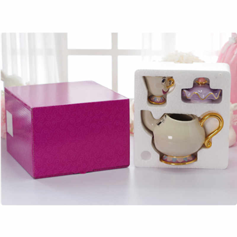 Beauty and the Beast Coffee Mugs Set Chip Tea Cups and Mugs Teapot Porcelain Drinkware With Gift Box