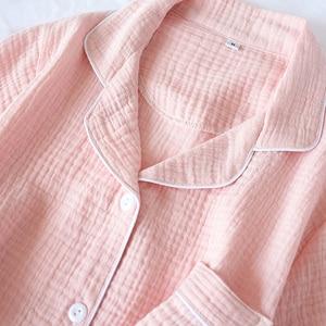 Image 4 - Women Pajamas Summer 100% Cotton Crepe Short sleeved Shorts Pyjamas Thin Solid Plus Size  Sleepwear Loungewear Hoem Clothes