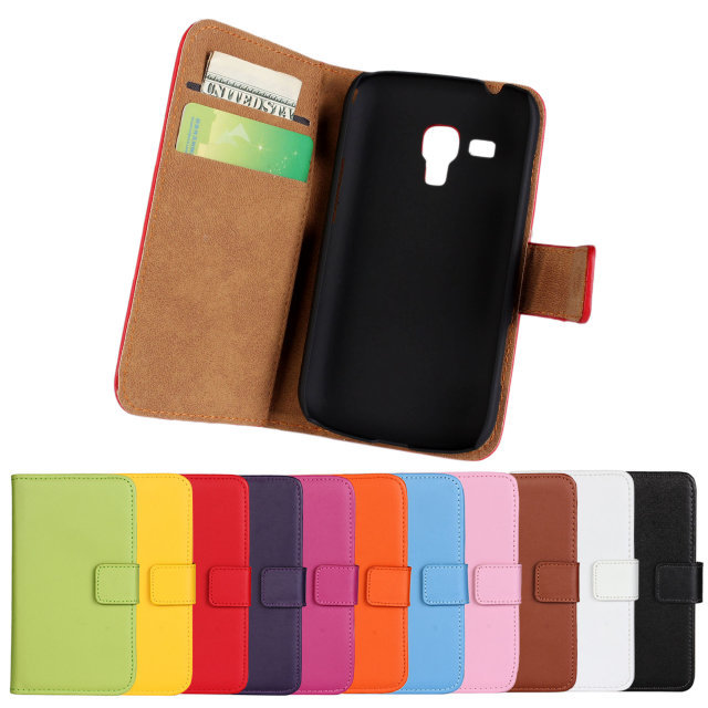 2014 New Samsung Galaxy Trend Plus S7580 Genuine Leather Wallet Cover Case 11 Colors Phone Cases - Tokohansun Store store