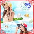Мода женская складная большой краев дамы лето ковша пляж цветочные вс шапки дискеты соломенная шляпа летом шляпы для женщин