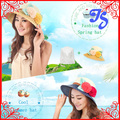 De la mujer moda plegable grande ancho de ala de las para mujer del verano cubo de playa Cap Floral Sun gorras sombrero de paja sombreros de verano para mujeres