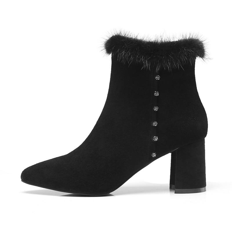 Zipper En Sabot Noires Mode À Bottes Bout Femmes Haute Chaud Bottines Travail L'extérieur Talons D'hiver Black Pointu Chaussures Peluche Zvq De Nouvelle tqZ0WOwqR