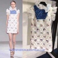 Vestidos verano 2018 женская летняя обувь платье Уникальный Блестки повседневное свободное платье femme вышитый цветок кружевное платье Элегантное пр