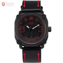 SHARK ARMY Stainless Steel Red Black Electroplate Case Leather Strap Sports relogio masculino Quartz Mens Military Watch /SAW224