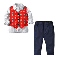 Boy's Suit Children's Gentleman Vest Striped Shirt British Wind Three piece Boutique Kids Clothing Boys Christmas Clothes