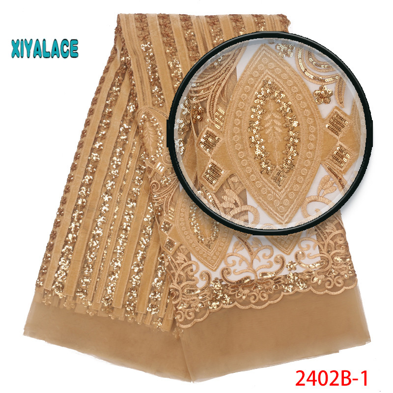 African Lace Fabric 2019 High Quality Nigerian Lace Fabrics Organza Sequins Embroidery French Tulle Lace Fabric YA2402B-1
