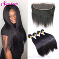 7A Malaysian Straight Hair 3 Bundles With Frontal Closure Straight Virgin Hair 13x4 Ear To Ear Lace Frontal Closure With Bundles