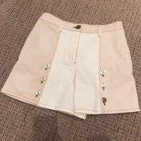 loose shorts women 2018 summer high waist shorts women patchwork shorts casual
