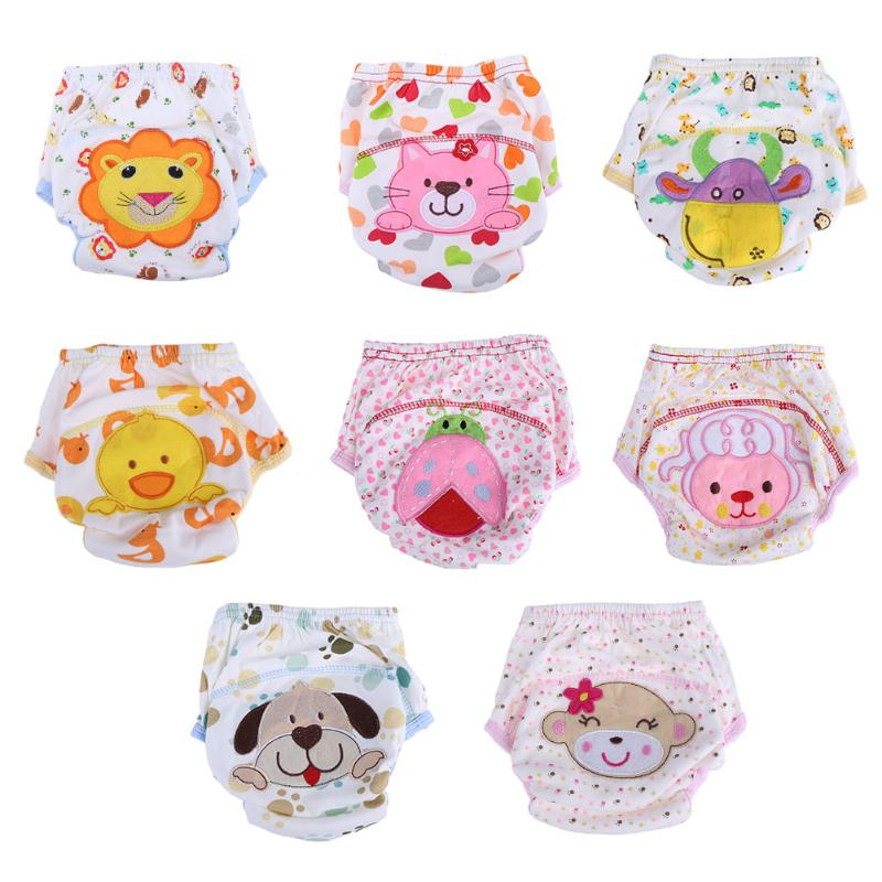 Baby Diapers Infant Washable Cotton Cartoon Pattern Reusable  Diapers Children Underwear Breathable  Briefs Training Pants