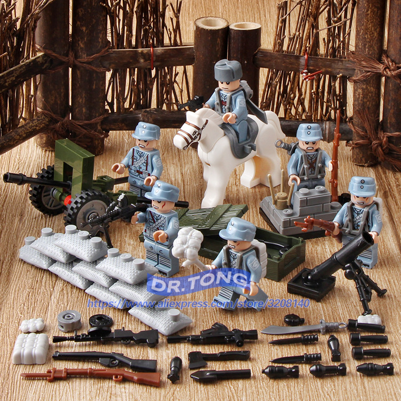 все цены на DR.TONG 60PCS/LOT Chinese Army MILITARY World War 2 Soldier Weapon Building Blocks Brick Figures Children Toy Gifts онлайн