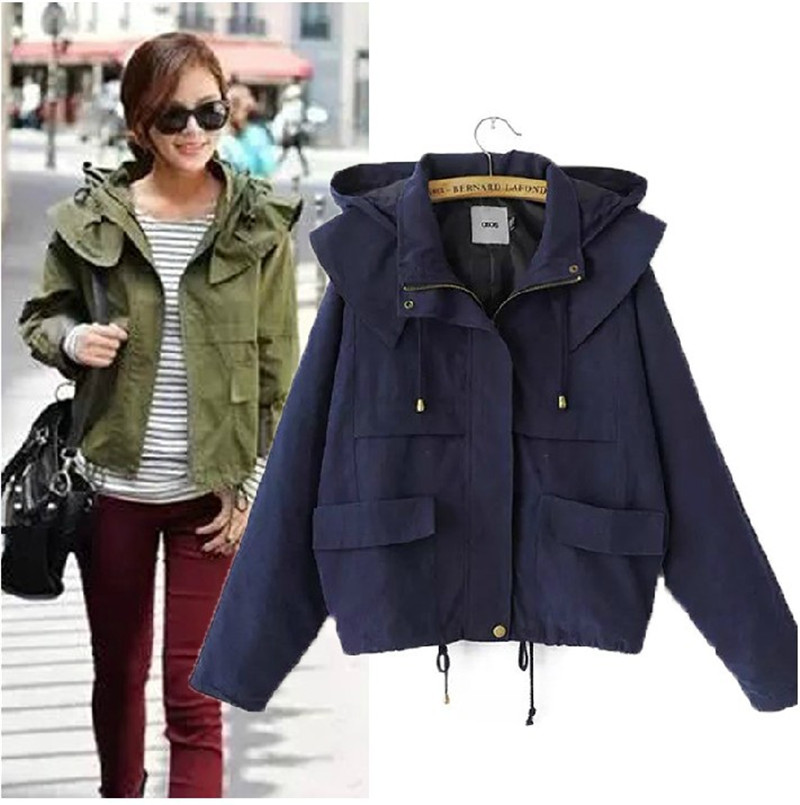 2017 font b Women s b font Loose Outwear Spring autumn Army green Coat Military Casual