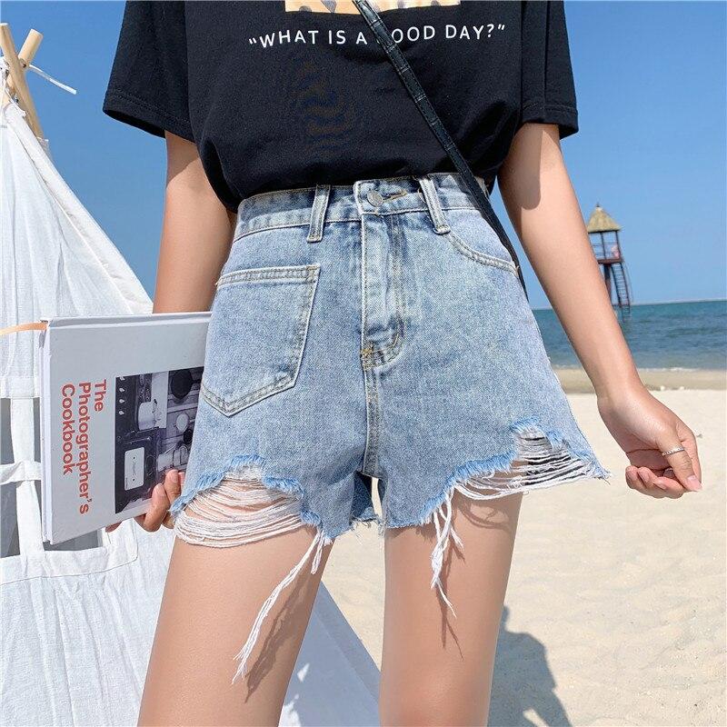 Rational S-xl 2019 Sommer Koreanische Chic Stil Tasche Hohe Taille Shorts Frauen Jeans Eine Linie Ripped Denim Shorts Femme Gepäck & Taschen z6298