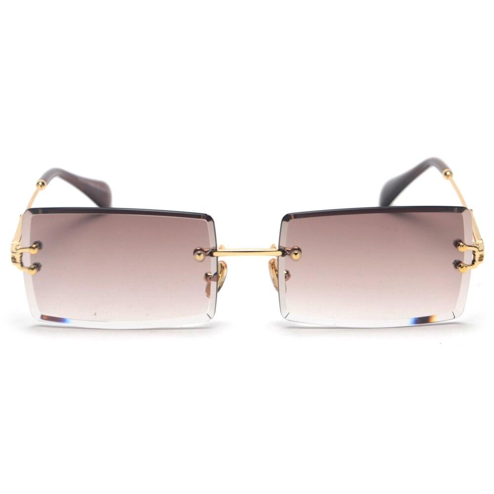 Ladies Sunglasses Square Bril Rimless Rectangle Polarized Women Luxury Brand for Dames