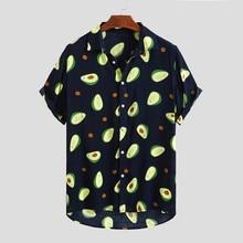 Флуоресцентный цвет, мужская рубашка, летняя, высокое качество, дышащая, гавайская рубашка, Camisa Masculina, брендовая, повседневная, мужская, с принтом размера плюс
