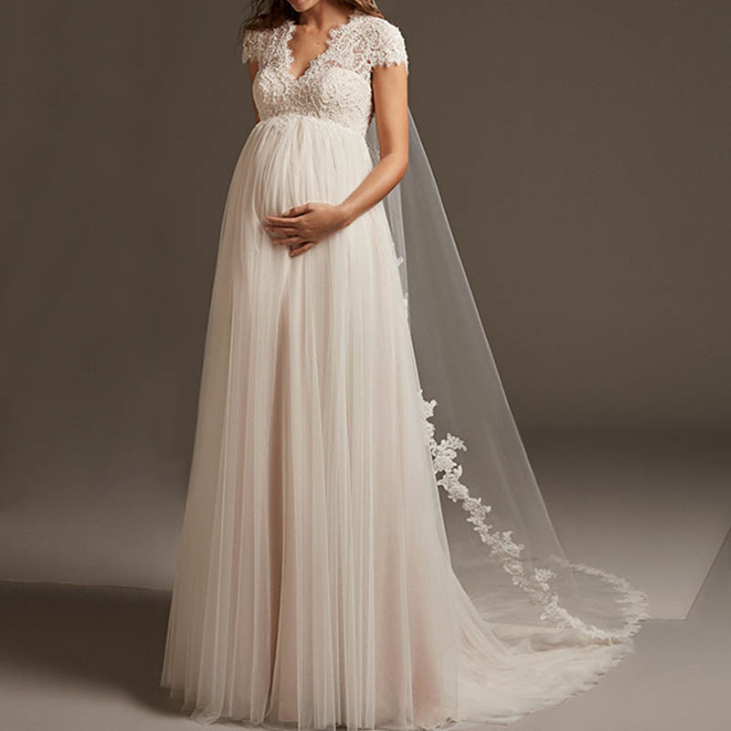 Vestido De Noiva Bohemian Tulle Lace Pregnant Wedding Dress Cap Sleeve Open Back Maternity Bridal Gown For Robe De Mariee