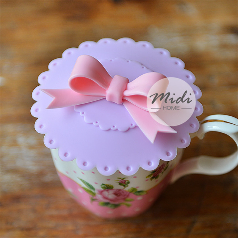 10.5cm Cute Anti-dust Silicone Glass Cup Cover Coffee Mug Suction Seal Lid Cap Silicone Lovely Bowknot Cup Cover A