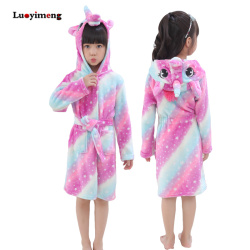 Kids Bathrobe For Girls Pajamas Star Unicorn Towel Flannel Sleepwear Cute Cartoon Unisex Nightwear Robe Boys Girls Dressing Gown